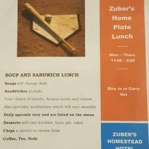Zuber's Home Plate lunch poster