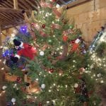Tree decorated with Santas
