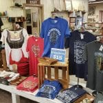 woolen mill inside with Oktoberfest shirts