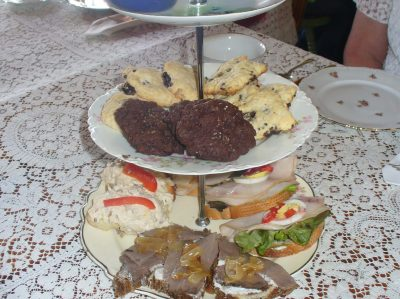Food on tiered tray