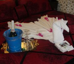Swan on bed made of towel, champagne and glasses