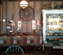 items on shelves and table