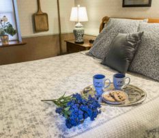 #4 The Glimpse of Amana room with blue flowers on bed