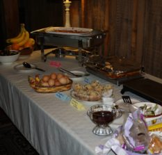table with breakfast foods