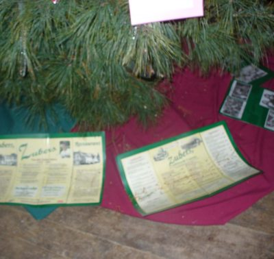 tree with Zuber's brochures underneath