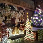 Various Christmas trees with picture of train